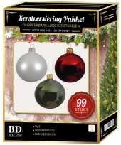 Kerstboom 99 stuks kerstballen mix wit groen donkerrood voor 150 cm boom versiering