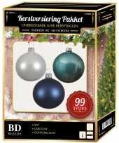 Kerstboom 99 stuks kerstballen mix wit ijsblauw blauw voor 150 cm boom versiering