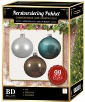 Kerstboom 99 stuks kerstballen mix wit ijsblauw kasjmier voor 150 cm boom versiering