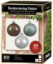 Kerstboom 99 stuks kerstballen mix wit mint bruin voor 150 cm boom versiering