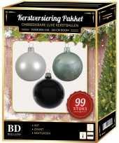 Kerstboom 99 stuks kerstballen mix wit mint zwart voor 150 cm boom versiering