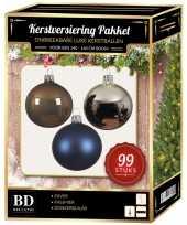 Kerstboom 99 stuks kerstballen mix zilver blauw bruin voor 150 cm boom versiering