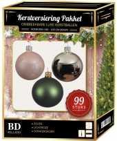 Kerstboom 99 stuks kerstballen mix zilver lichtroze groen voor 150 cm boom versiering