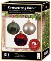 Kerstboom kerstbal en piek set 130x champagne donkergroen rood voor 180 cm versiering
