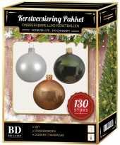 Kerstboom kerstbal en piek set 130x champagne wit groen voor 180 cm boom versiering
