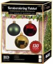 Kerstboom kerstbal en piek set 130x goud donkergroen rood voor 180 cm versiering