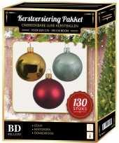 Kerstboom kerstbal en piek set 130x goud donkerrood mintgroen voor 180 cm versiering
