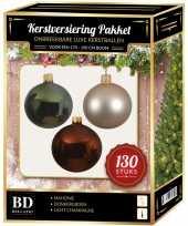 Kerstboom kerstbal en piek set 130x parel bruin groen voor 180 cm boom versiering