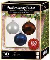Kerstboom kerstbal en piek set 130x wit bruin blauw voor 180 cm boom versiering