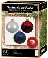 Kerstboom kerstbal en piek set 130x wit donkerblauw rood voor 180 cm boom versiering