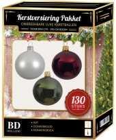 Kerstboom kerstbal en piek set 130x wit donkerrood groen voor 180 cm boom versiering