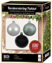 Kerstboom kerstbal en piek set 130x wit mintgroen zwart voor 180 cm boom versiering