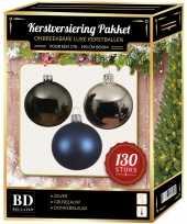 Kerstboom kerstbal en piek set 130x zilver grijsblauw blauw voor 180 cm bo versiering