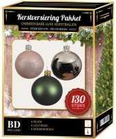 Kerstboom kerstbal en piek set 130x zilver groen roze voor 180 cm boom versiering