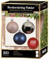 Kerstboom kerstbal en piek set 130x zilver roze blauw voor 180 cm boom versiering