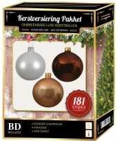 Kerstboom kerstbal en piek set 181x champagne wit bruin voor 210 cm boom versiering