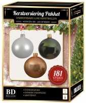 Kerstboom kerstbal en piek set 181x champagne wit groen voor 210 cm boom versiering