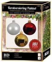Kerstboom kerstbal en piek set 181x goud wit rood voor 210 cm boom versiering