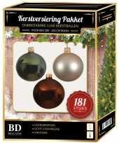 Kerstboom kerstbal en piek set 181x parel bruin groen voor 210 cm boom versiering