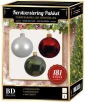 Kerstboom kerstbal en piek set 181x wit donkerrood groen voor 210 cm boom versiering