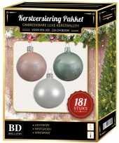 Kerstboom kerstbal en piek set 181x wit mintgroen lichtroze voor 210 cm bo versiering