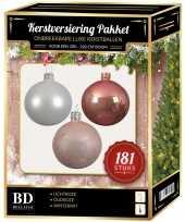 Kerstboom kerstbal en piek set 181x wit roze lichtroze voor 210 cm boom versiering