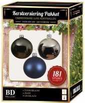 Kerstboom kerstbal en piek set 181x zilver grijsblauw blauw voor 210 cm bo versiering