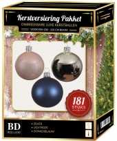 Kerstboom kerstbal en piek set 181x zilver roze blauw voor 210 cm boom versiering
