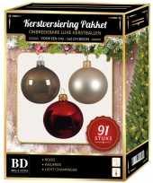 Kerstboom kerstbal en piek set 91x champagne bruin rood voor 150 cm boom versiering