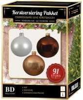 Kerstboom kerstbal en piek set 91x champagne wit bruin voor 150 cm boom versiering