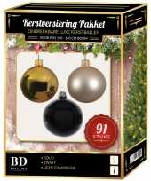Kerstboom kerstbal en piek set 91x goud champagne zwart voor 150 cm boom versiering