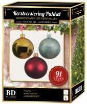 Kerstboom kerstbal en piek set 91x goud donkerrood mint voor 150 cm boom versiering