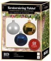 Kerstboom kerstbal en piek set 91x goud wit donkerblauw voor 150 cm boom versiering