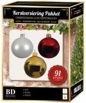 Kerstboom kerstbal en piek set 91x goud wit rood voor 150 cm boom versiering