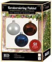 Kerstboom kerstbal en piek set 91x wit bruin donkerblauw voor 150 cm boom versiering
