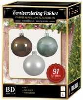 Kerstboom kerstbal en piek set 91x wit bruin mint voor 150 cm boom versiering
