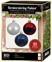Kerstboom kerstbal en piek set 91x wit donkerblauw rood voor 150 cm boom versiering