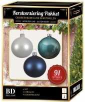 Kerstboom kerstbal en piek set 91x wit ijsblauw blauw voor 150 cm boom versiering