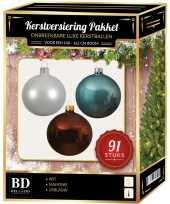 Kerstboom kerstbal en piek set 91x wit mahoniebruin blauw voor 150 cm boom versiering