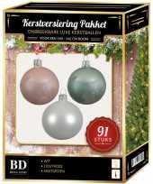 Kerstboom kerstbal en piek set 91x wit mint lichtroze voor 150 cm boom versiering