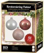 Kerstboom kerstbal en piek set 91x wit oud roze lichtroze voor 150 cm boom versiering