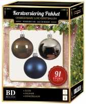 Kerstboom kerstbal en piek set 91x zilver bruin blauw voor 150 cm boom versiering