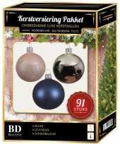 Kerstboom kerstbal en piek set 91x zilver lichtroze donkerblauw voor 150 c versiering