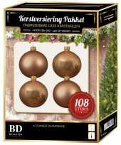 Kerstboom kerstbal en ster piek set 108x donker parel voor 210 cm boom versiering