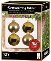 Kerstboom kerstbal en ster piek set 108x goud voor 210 cm boom versiering