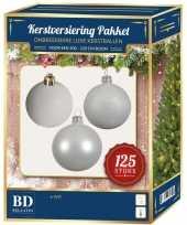 Kerstboom kerstbal en ster piek set 125x wit voor 210 cm boom versiering