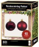 Kerstboom kerstbal en ster piek set 45x donkerrood voor 120 cm boom versiering