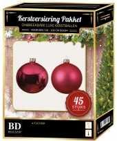 Kerstboom kerstbal en ster piek set 45x fuchsia roze voor 120 cm boom versiering