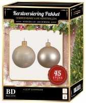 Kerstboom kerstbal en ster piek set 45x licht champagne voor 120 cm boom versiering