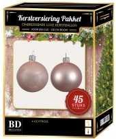 Kerstboom kerstbal en ster piek set 45x lichtroze voor 120 cm boom versiering